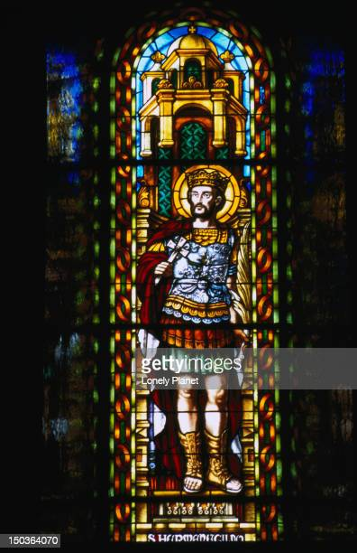 window in temple del sagrat cor, tibidabo. - sagrat cor stock pictures, royalty-free photos & images