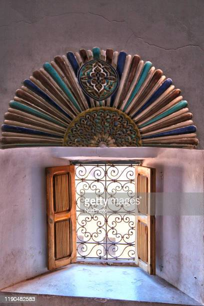 Window in the historic Taourirt Kasbah located in the Atlas Mountains in Ouarzazate, Morocco, Africa on 4 January 2016. The Kasbah dates back to the...