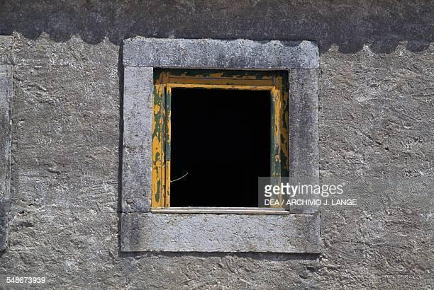 Window in the sanctuary of Nossa Senhora do Cabo de Espichel Historical Province of Extremadura Alentejo Portugal 18th century