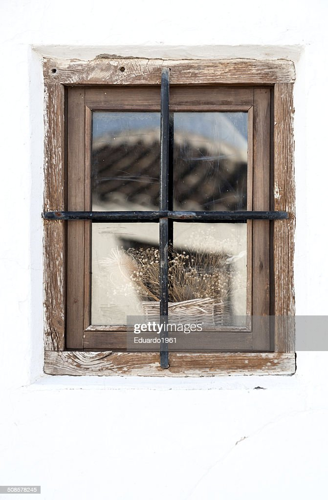 Window inAndalusian white villages in Spain : Stock Photo