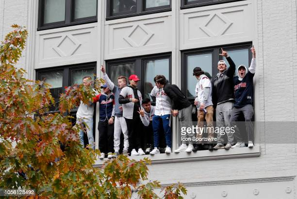 Window ledge provides a decent viewing spot during the Boston Red Sox World Series Victory Parade on October 31, 2018 through the streets of Boston,...