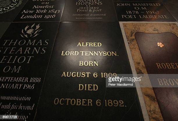 Window light is reflected by Alfred Lord Tennyson's gravestone in Poets' Corner in Westminster Abbey on August 5, 2009 in London. Tennyson, Poet...