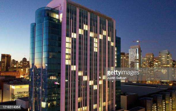 Window lights are illuminated in the shape of a heart at the InterContinental San Francisco Hotel on April 01 2020 in San Francisco California...