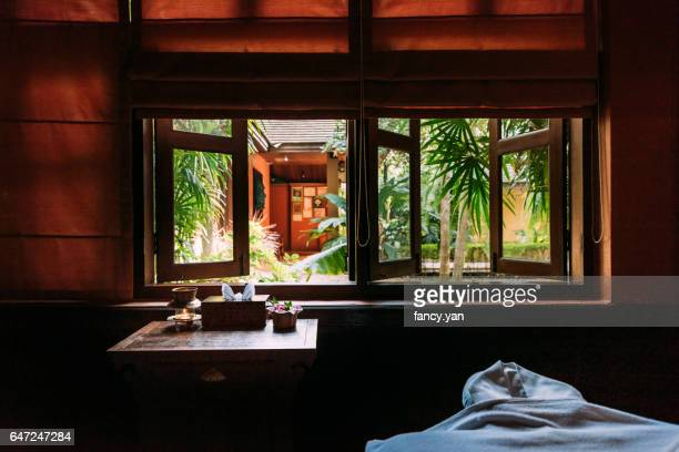 window of massage room - thai massage stock photos and pictures