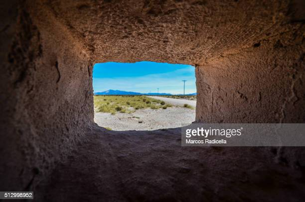 window of peasant house, salinas grande, argentina. - radicella stock photos and pictures