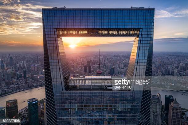 window of shanghai - lujiazui stock photos and pictures