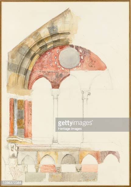 rapid Sketch in Colour showing Method of inlaying Marbles August 1869 Artist John Ruskin