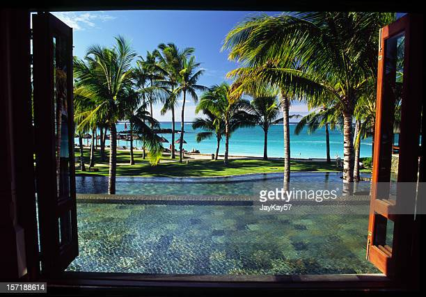 window on paradise - looking at view stock pictures, royalty-free photos & images
