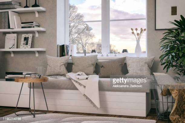 window seat in the living room - ledge stock pictures, royalty-free photos & images