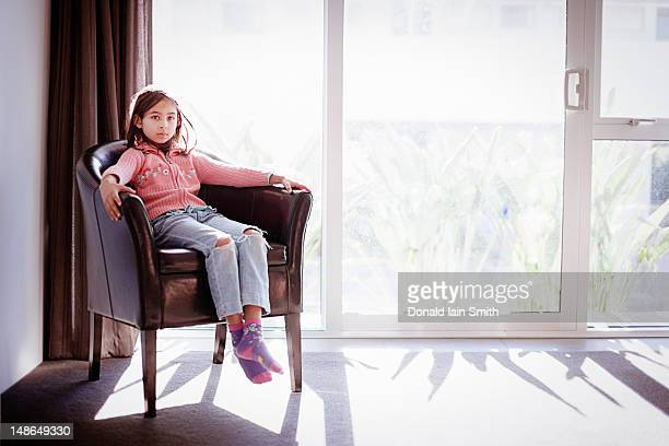 window seat - little girls socks stock photos and pictures