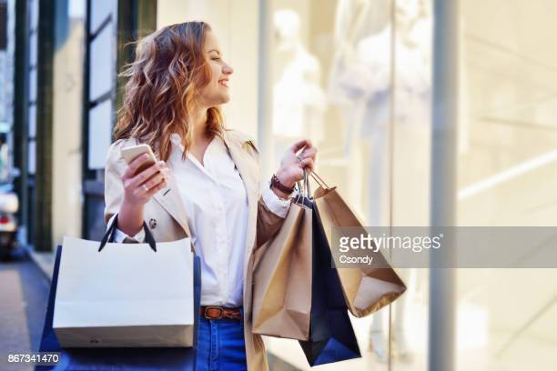 window shopping - shopping bag stock pictures, royalty-free photos & images