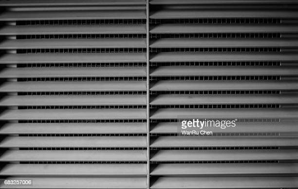 Window shutters. Office interior blinds. Window decor. Horizontal window blind. Vector illustration.