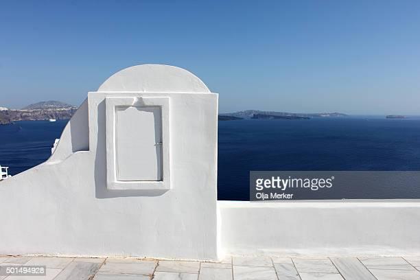 Window to the blue sea, Oia, Santorini, Greece