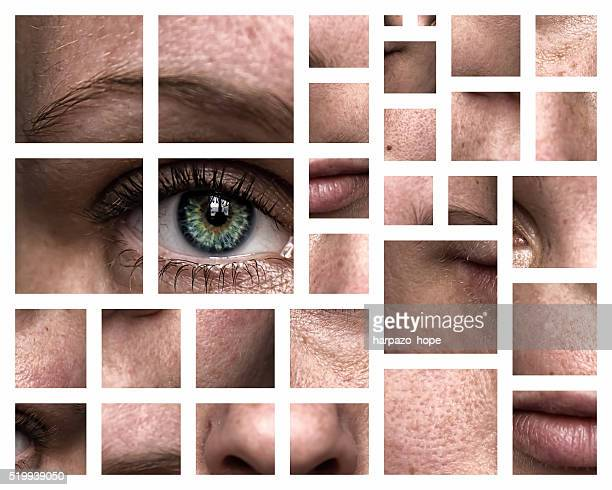 window to the soul - female - pores stock photos and pictures