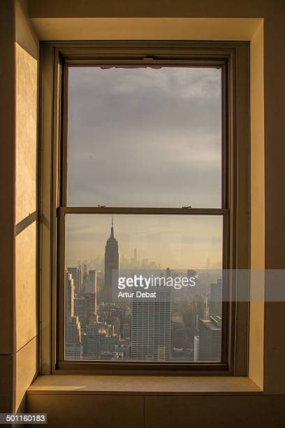 "Window view viewpoint above building construction architecture skycrapers tower ""Empire State Building"" cityscape Manhattan ""new york city"" sky..."