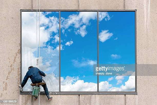 xl window washer - window cleaning stock photos and pictures
