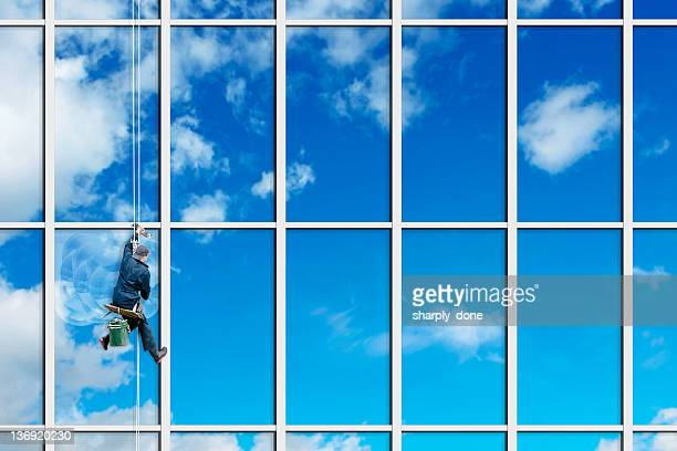 xxl window washer - window cleaning stock photos and pictures