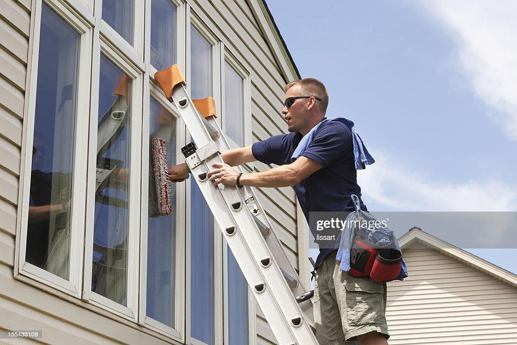 Window Washing Professional : Stock Photo