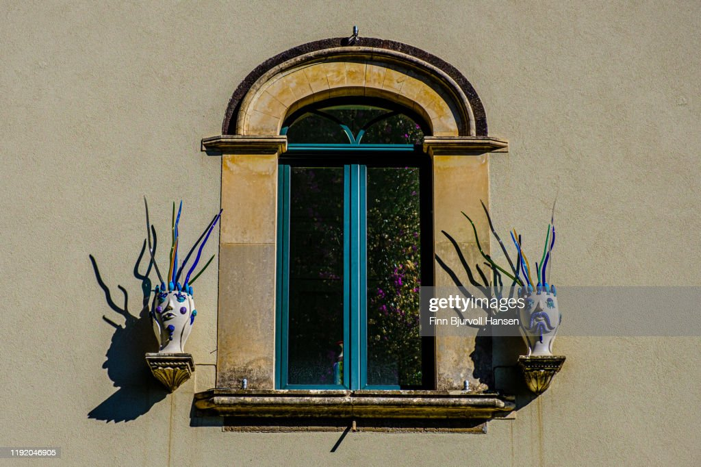 Window with decoration in Taormina Sicily Italy : Stock Photo