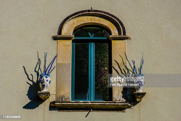 window with decoration in taormina sicily italy - finn bjurvoll stock pictures, royalty-free photos & images