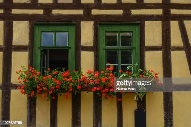 window with flower boxes - ハーフティンバー様式 ストックフォトと画像