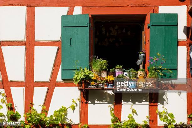 Window with flower decoration, old half-timbered house, Oehningen, Lake Constance, Baden-Wuerttemberg, Germany