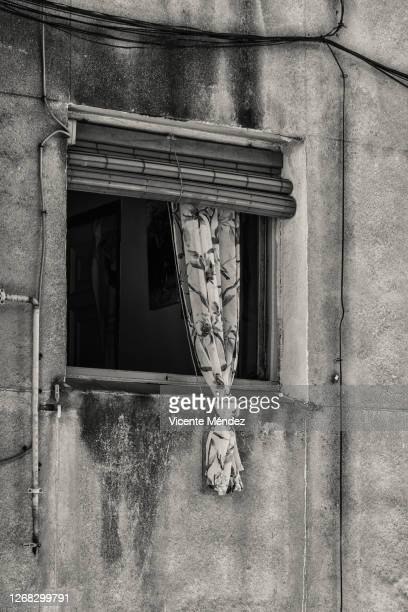 window with knotted curtain - madrid stock pictures, royalty-free photos & images
