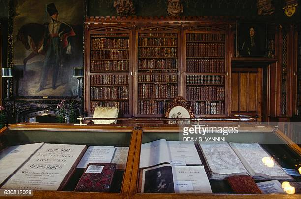 Window with manuscripts, Abbotsford House Library, Neo-Gothic style historic country house, Melrose, Scotland. United Kingdom, 19th century.