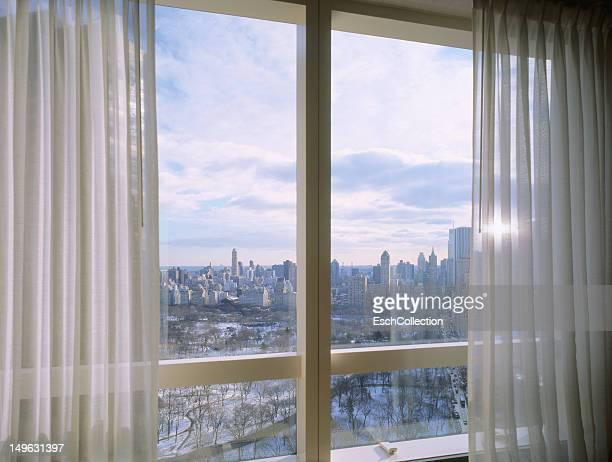 Window with view of a snow covered Central Park