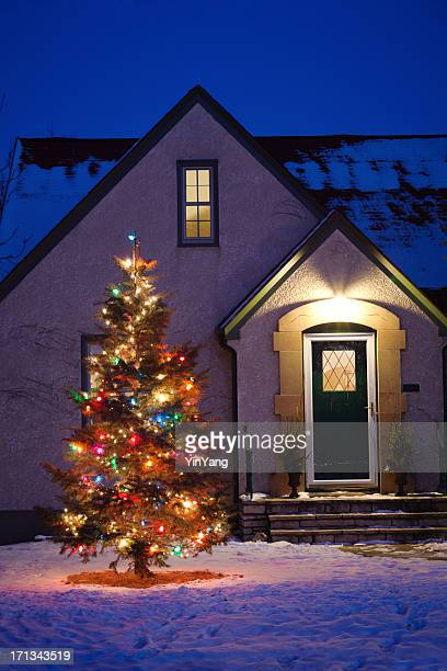WINDOWDecorated Outdoor Christmas Tree in Front of House Vt