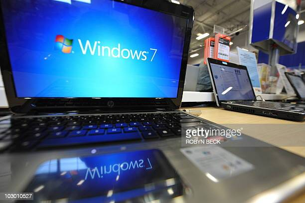 A Windows 7 logo appears on a computer on display at an electronics store in Los Angeles California on October 22 the official release date of...