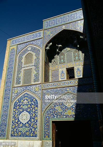 Windows and decorative elements on the facade of the Sheikh Lotfollah mosque, 1603-1619, Naqsh-e Jahan square or Imam square , Isfahan . Iran, 17th...