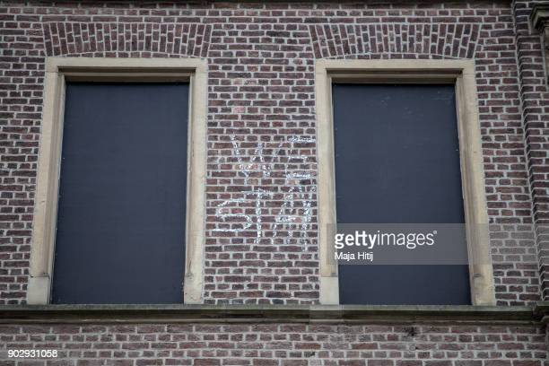 Windows are shut in an abandoned house on January 9 2018 in Immerath Germany The village of Immerath will be completely razed in order to make way...