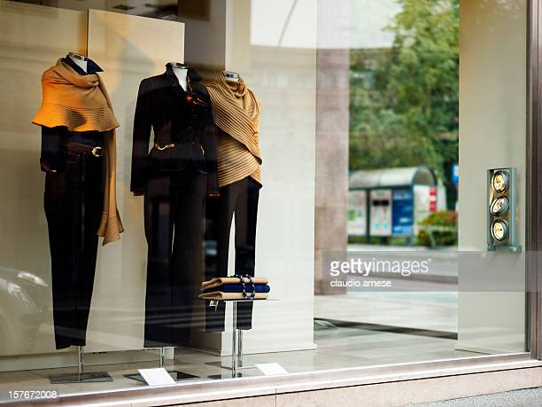 Windows Display with Elegant Clothing. Color Image