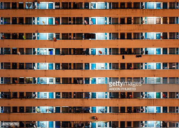 Windows in a row urban apartment