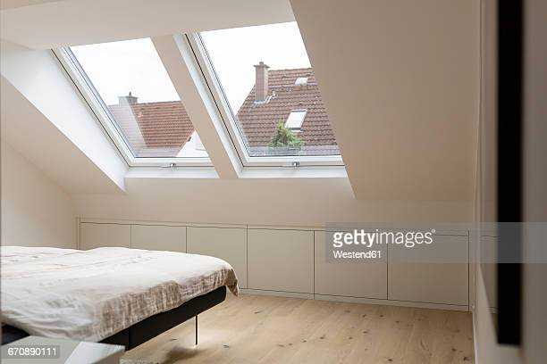 Windows in bedroom of a penthouse