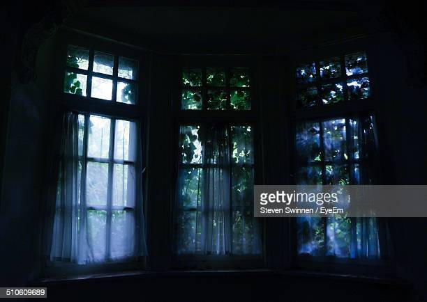 Windows in dark room