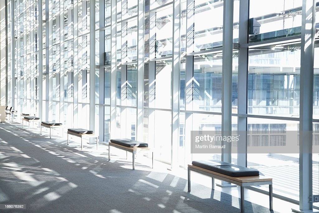 Windows in lobby of office building : Stock Photo