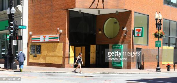 Windows in the 7Eleven's Downtown Crossing store are boarded up in preparation for potential looting in Boston on May 31 2020 Protests all over the...