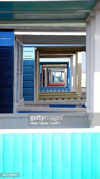 windows of beach huts - maria tejada stock pictures, royalty-free photos & images