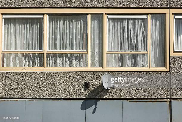 Windows of flat on Heygate Estate, South London