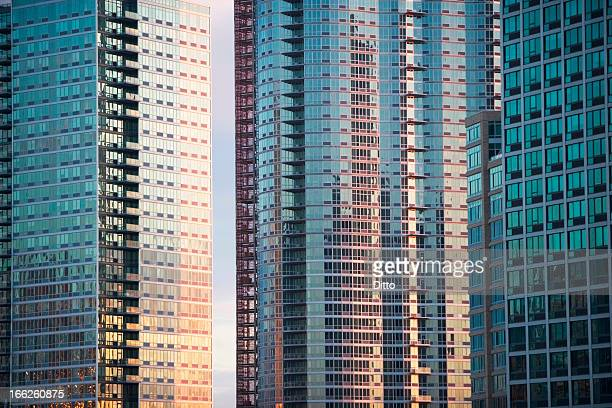 Windows of urban skyscrapers