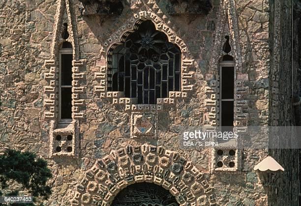 Windows on the Bellesguard tower facade, 1900-1909, modernist building designed by Antoni Gaudi , Barcelona, Catalonia. Spain, 20th century.