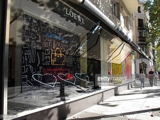 Windowshopping at the Serrano street in Madrid of the signing of spanish origin of luxury fashion and accessories Loewe Salamanca district of Madrid...