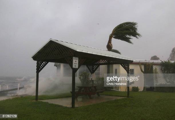 Winds lash a seaside trailer September 4 2004 in Jensen Beach Florida Residents around central and south Florida began to feel the brunt of Hurricane...