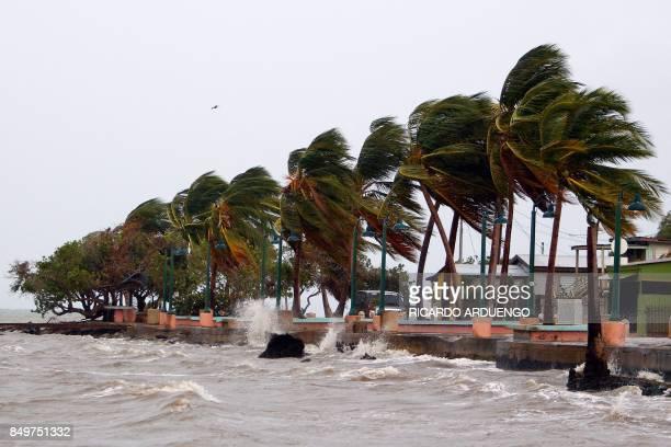 TOPSHOT Winds lash the coastal city of Fajardo as Hurricane Maria approaches Puerto Rico on September 19 2017 Maria headed towards the Virgin Islands...