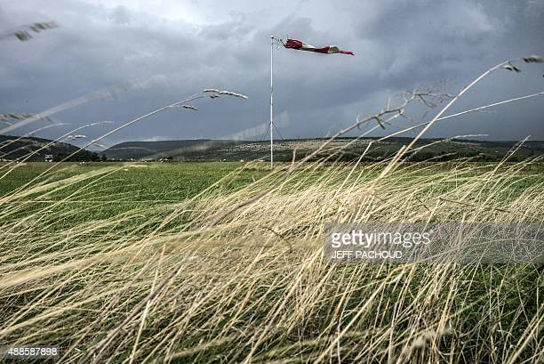 A windsock is pictured on September 16 2015 near Vosne Romanee in Burgundy eastern France AFP PHOTO / JEFF PACHOUD