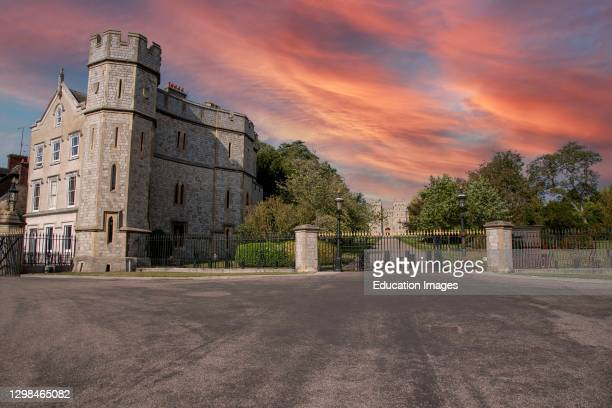 Windsor, Berkshire, England, UK, Sunset sky over Windsor Castle looking towards the George VI Gateway and visitors apartments from the Long Walk.
