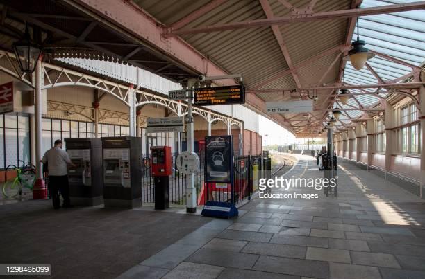 Windsor, Berkshire, England, UK, The historic Windsor and Eton Central Station platform for shuttle service to Slough.