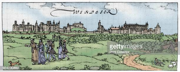 'Windsor Castle' Illustration after a pen and ink drawing by Hoefnagel or Hogenberg in the Royal Collection at Windsor Castle showing the castle as...